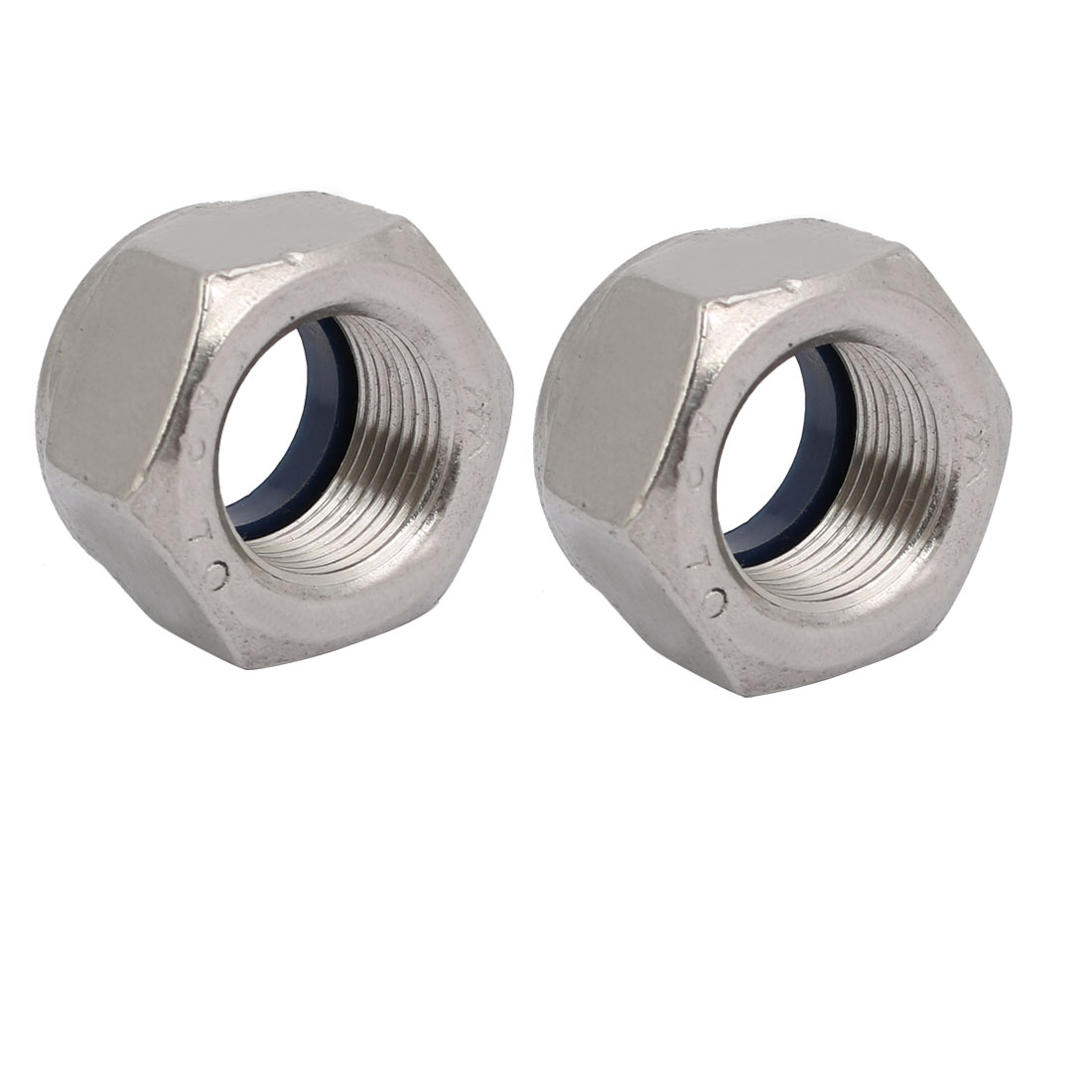 2pcs M20 x 1.5mm Pitch Metric Fine Thread 304 Stainless Steel Hex Lock Nuts