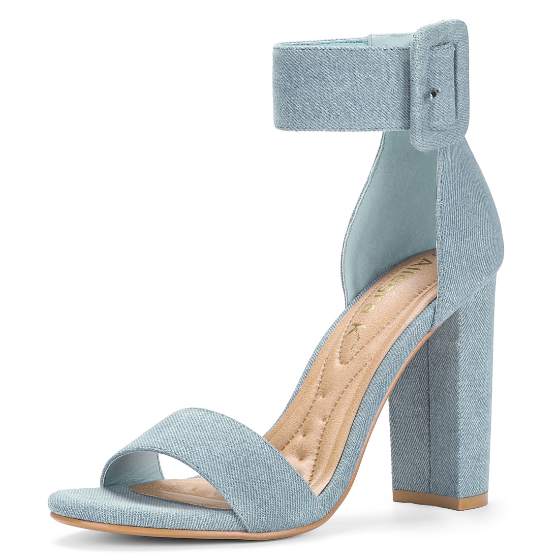 Women Block Heel Zipper Buckle Ankle Strap Sandals Denim Blue US 6