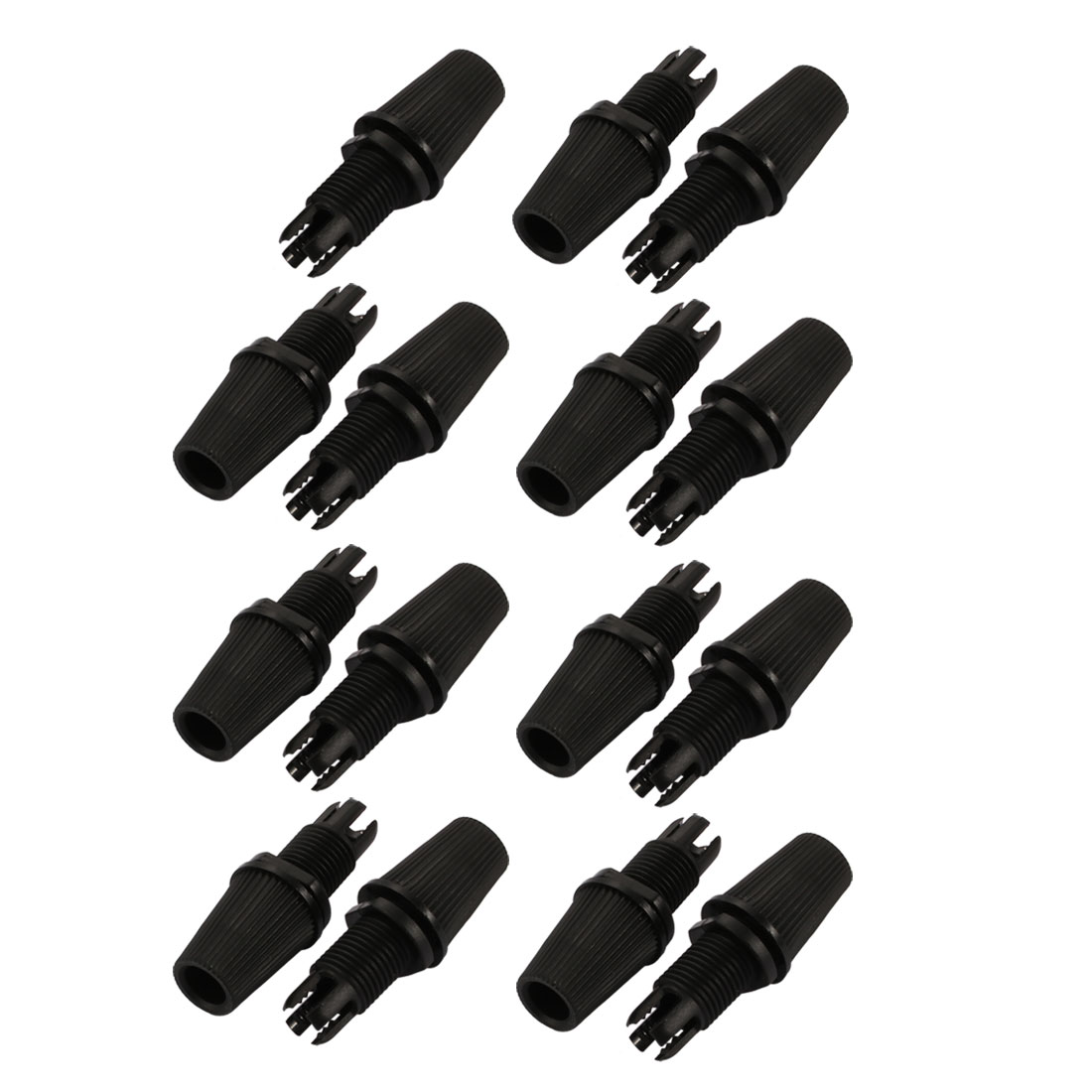 15pcs 6.3mm Line Hole Dia Thread Adjustable Clamps Light Cable Clips Black