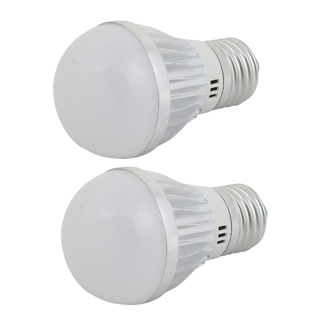 2 Pcs 3W Slivery Aluminum Ball - Bulb Lamp Housing E27 Screw Base w White Cover