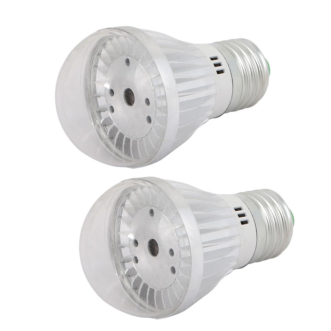 2 Pcs 3W Silver Aluminum Ball - Bulb Lamp Housing E27 Screw Base w Clear Cover