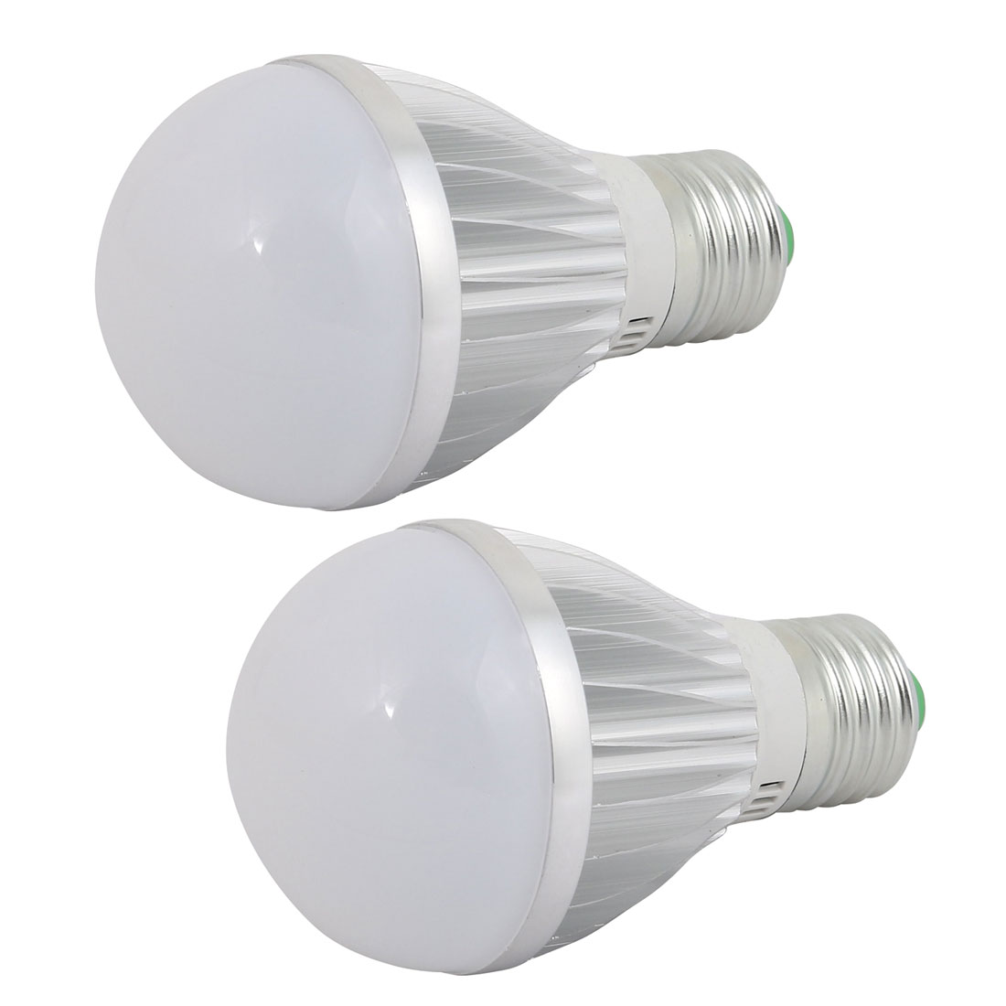 2 Pcs 5W Silver Aluminum Ball - Bulb Lamp Housing E27 Screw Base w White Cover