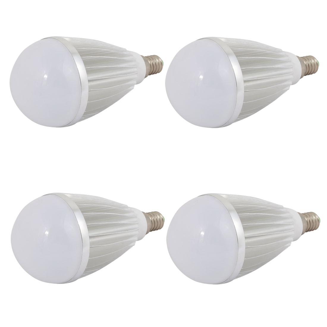 4 Pcs 7W Slivery Aluminum Ball - Bulb Lamp Housing E14 Screw Base w White Cover