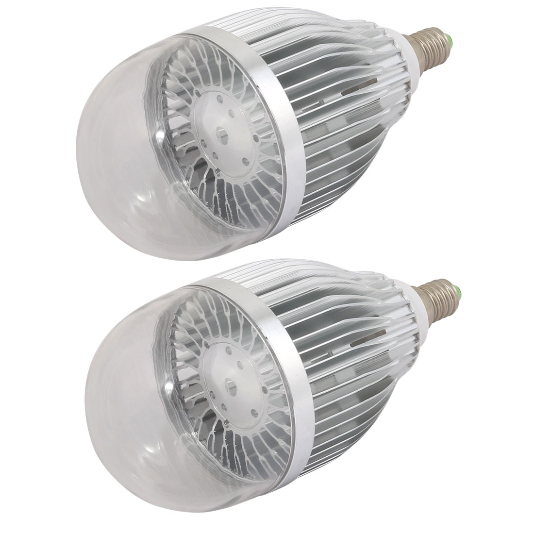 2 Pcs 9W 12W Slivery Aluminum Ball - Bulb Lamp Housing E14 Base w Frosted Cover