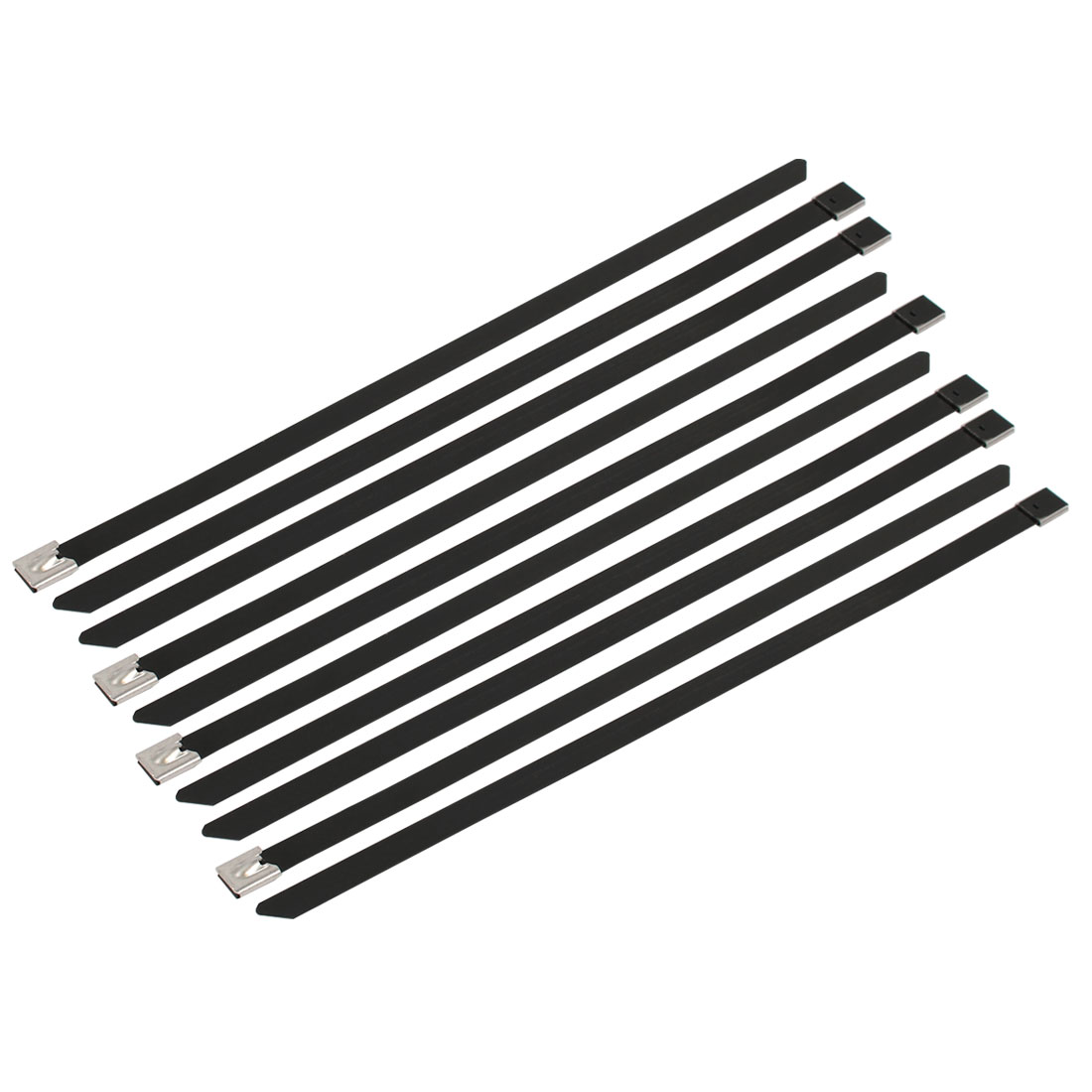10pcs 10mm Width 300mm Length Stainless Steel Cable Tie Wire Strap Black