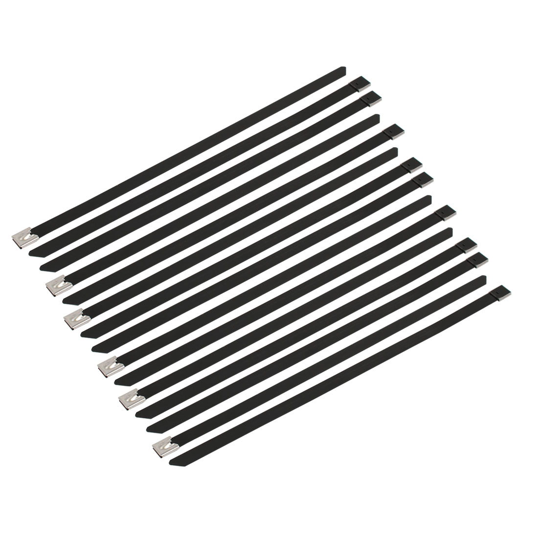 15pcs 10mm Width 300mm Length Stainless Steel Cable Tie Wire Strap Black