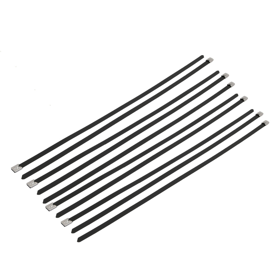 10pcs 10mm Width 500mm Length Stainless Steel Cable Tie Wire Strap Black