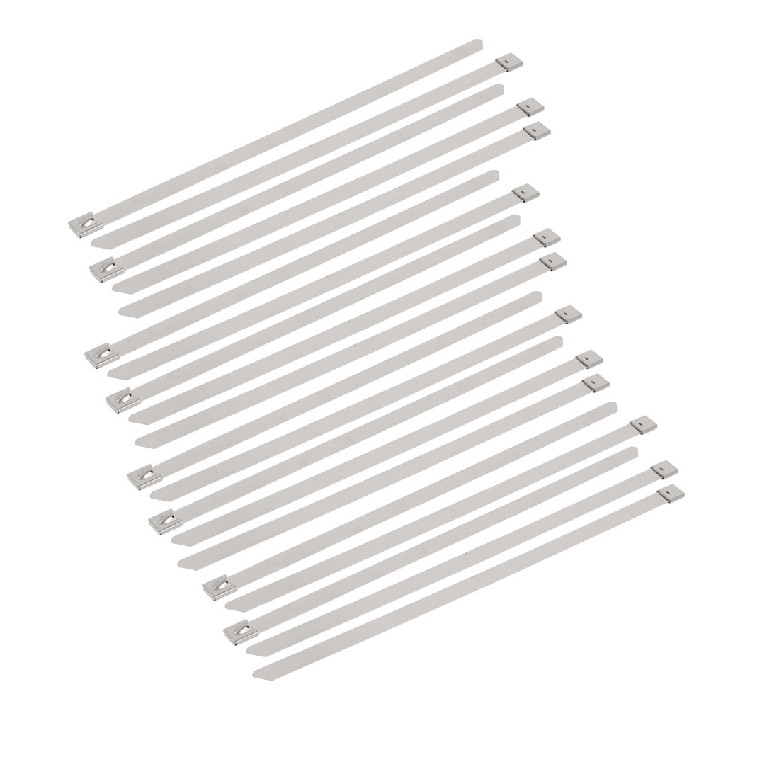 20pcs 10mm Width 300mm Length Stainless Steel Cable Tie Wire Strap Silver Tone