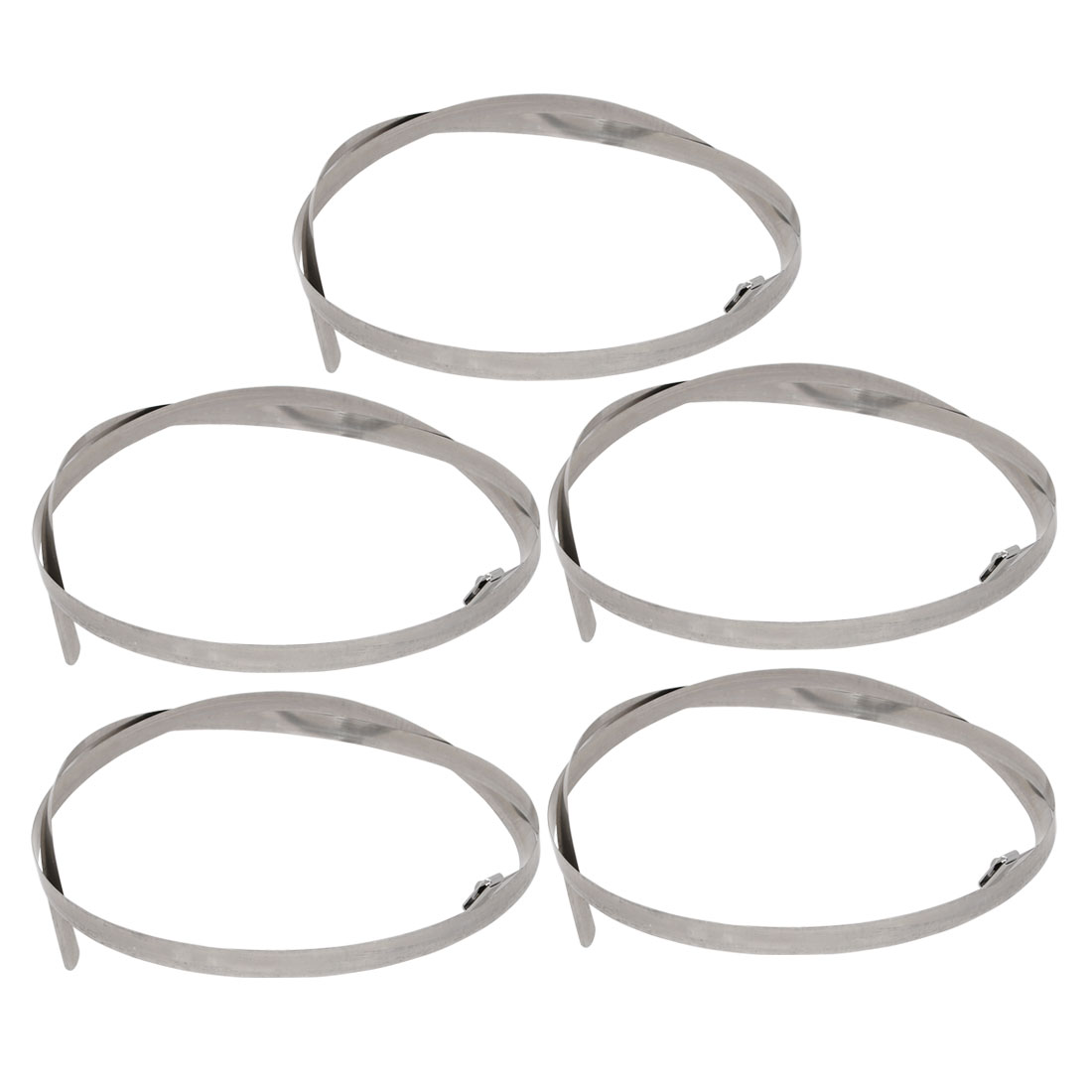 5pcs 12mm Width 1200mm Length Stainless Steel Cable Tie Wire Strap Silver Tone