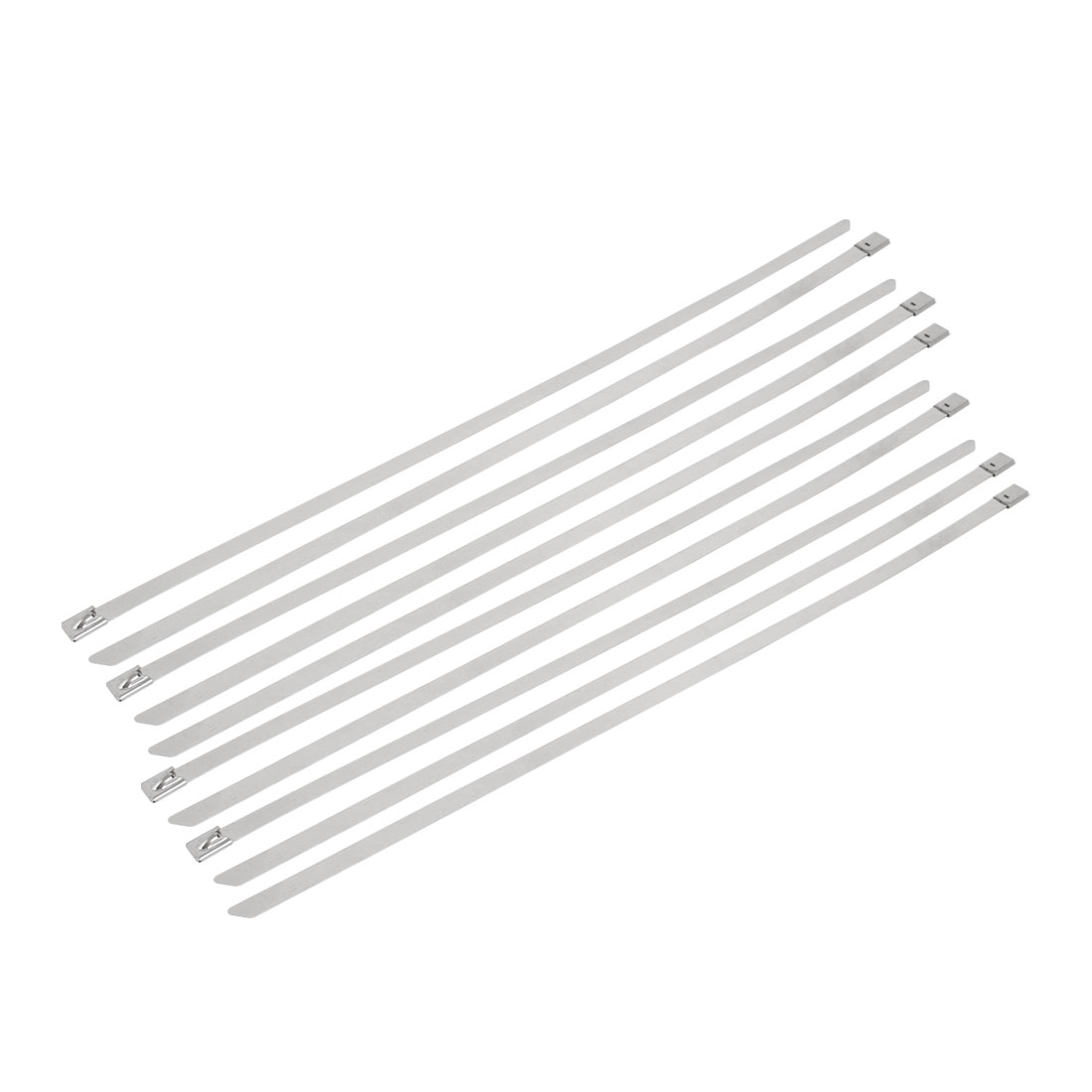 10pcs 8mm Width 400mm Length Stainless Steel Cable Tie Wire Strap Silver Tone