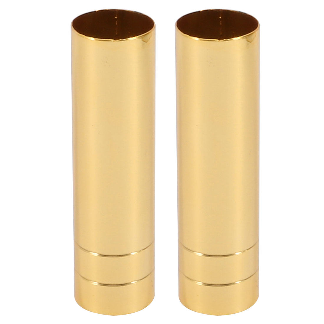 2pcs 25mmx80mm Gold Tone Metal Candle Cover Sleeves Chandelier Socket Covers