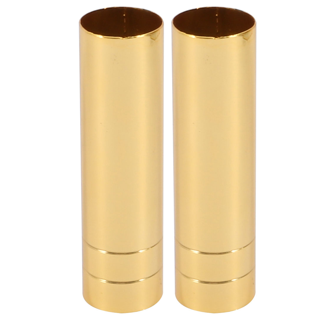 2pcs 25mmx90mm Gold Tone Metal Candle Cover Sleeves Chandelier Socket Covers