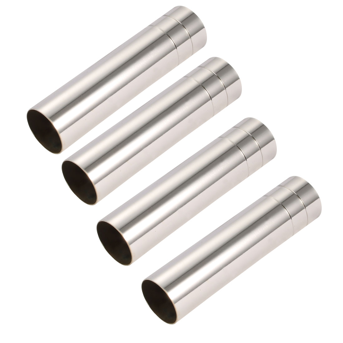 4pcs 25mmx100mm Silver Tone Metal Candle Cover Sleeves Chandelier Socket Covers