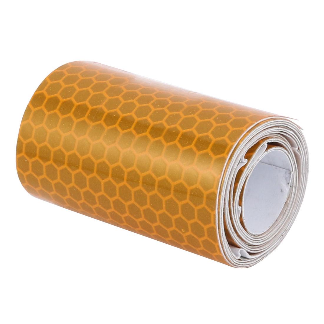1M Long 5cm Width Honeycomb Single Sided Adhesive Reflective Warning Tape Yellow