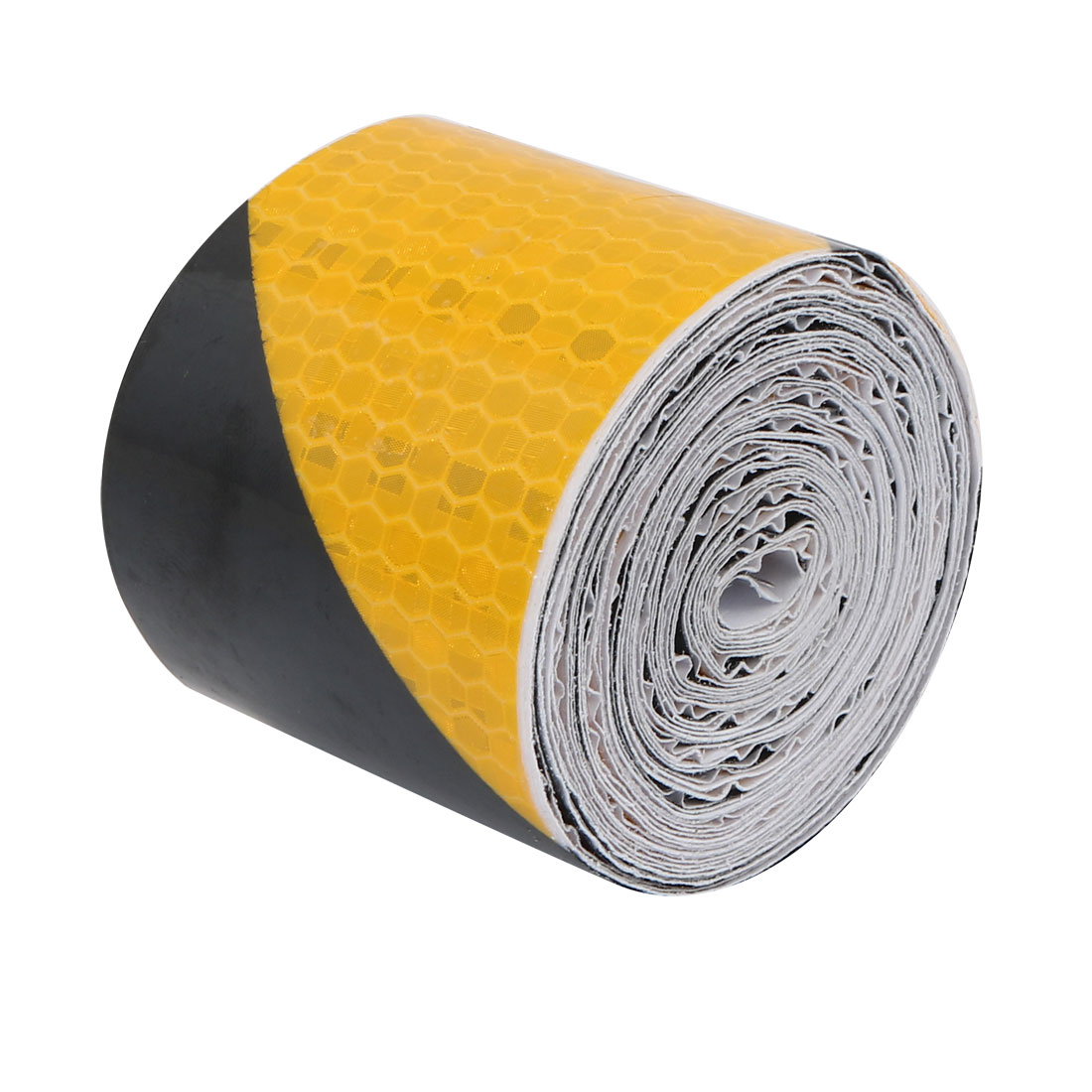5M Length 5cm Width Single Sided Adhesive Reflective Warning Tape Yellow Black