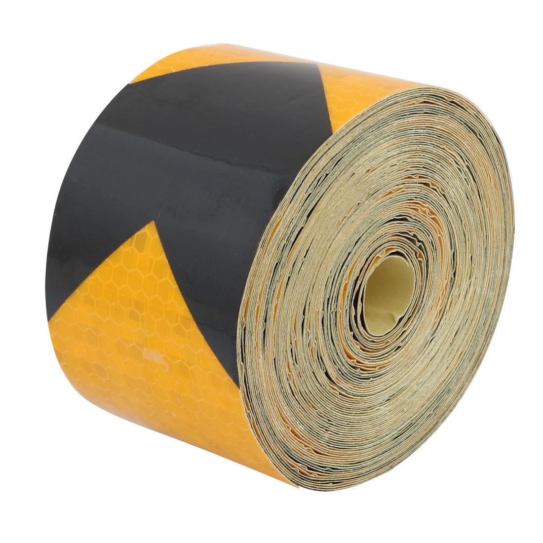 10Meter Length 5cm Wide Honeycomb Adhesive Reflective Warning Tape Yellow Black