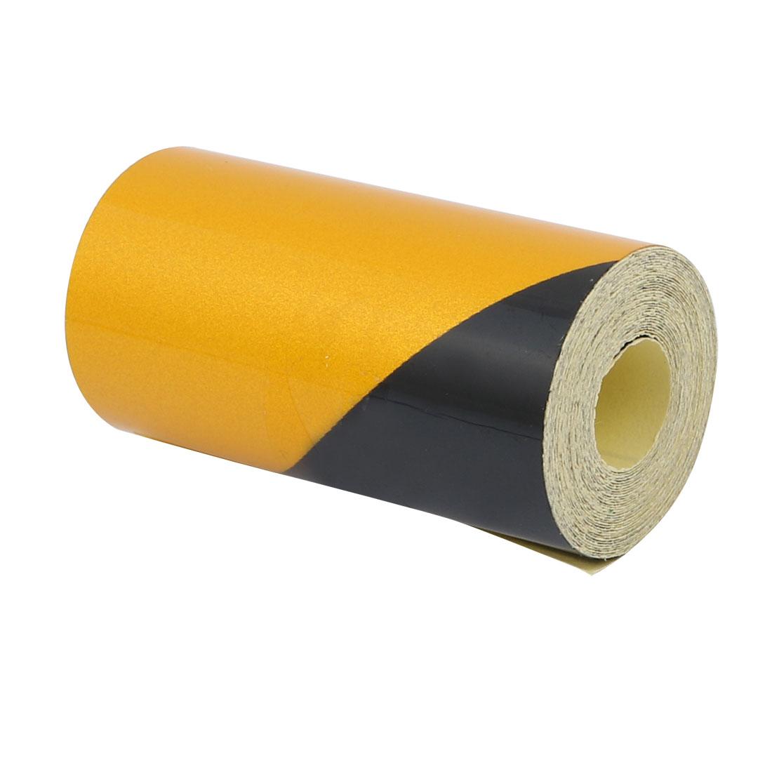 2M Length 5cm Width Single Sided Adhesive Reflective Warning Tape Yellow Black