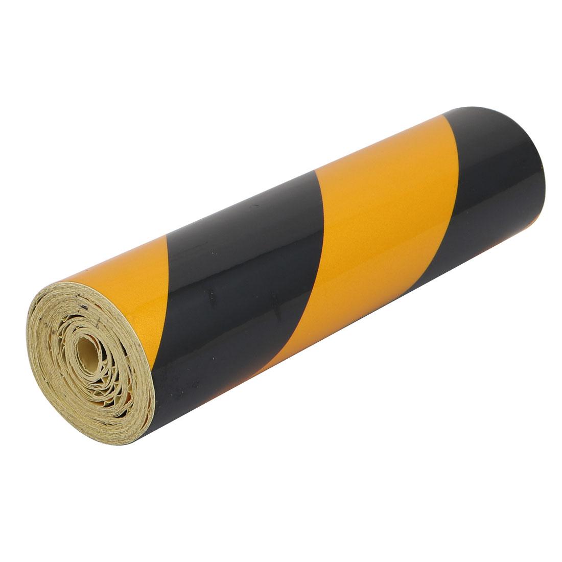 20cm Width 7M Length Single Sided Adhesive Reflective Warning Tape Yellow Black