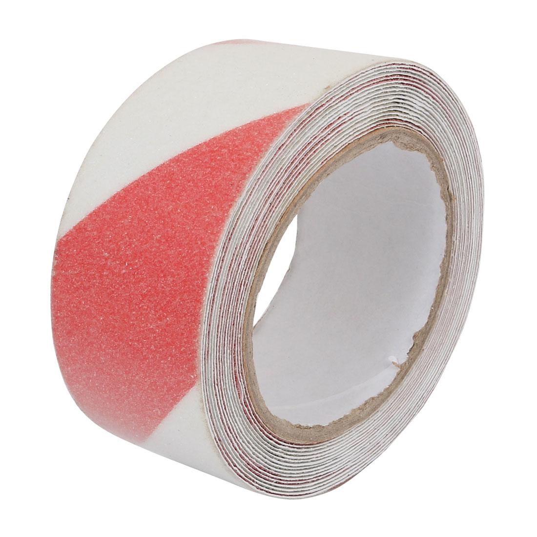5M Long 5cm Width Adhesive Grit Anti Slip Tape for Stairs Floor Dark Red White