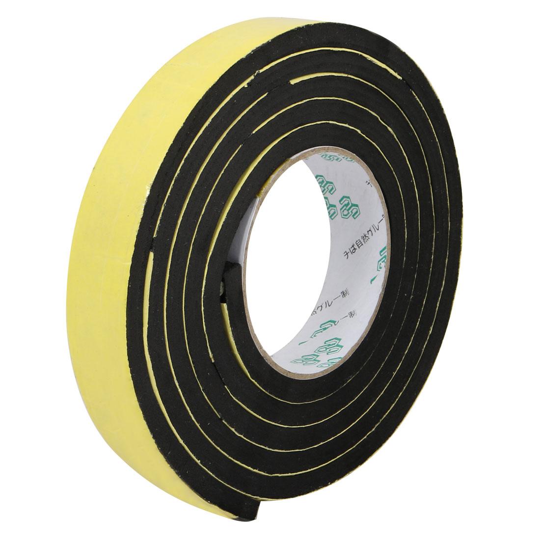 25mm Wide 8mm Thick Single Sided Shockproof EVA Sponge Tape Black 2 Meters Long