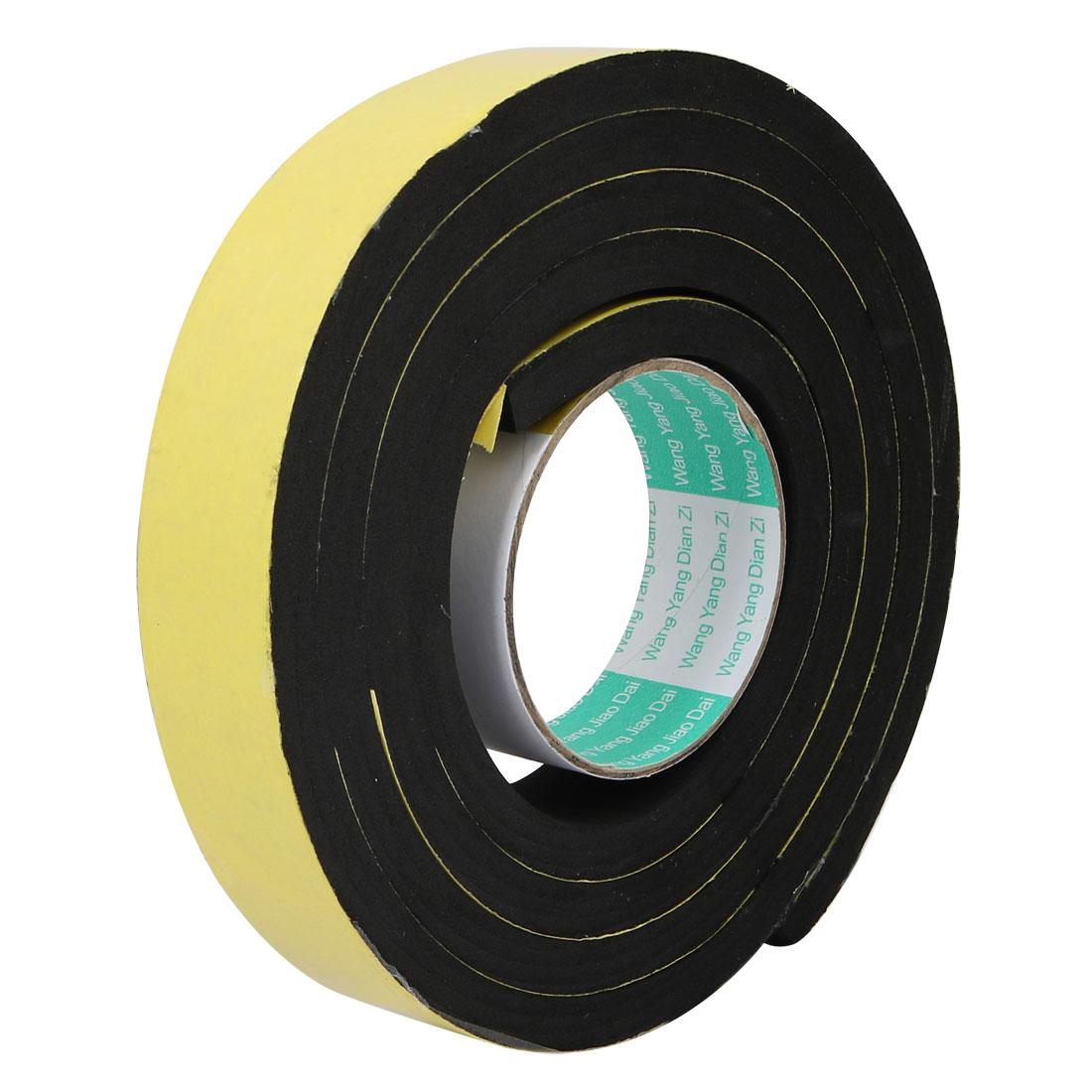35mm Wide 10mm Thick Single Sided Shockproof EVA Sponge Tape Black 2 Meters Long