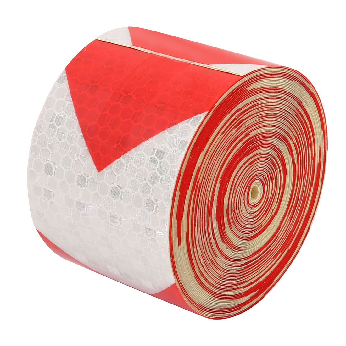 Single Side Adhesive Reflective Warning Tape Tilt 10M Long 5cm Wide Red White