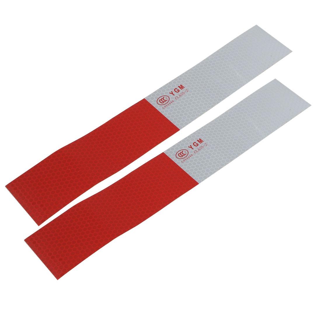 2pcs 5cm x 30cm Honeycomb Single Sided Adhesive Reflective Warning Tape Red Gray