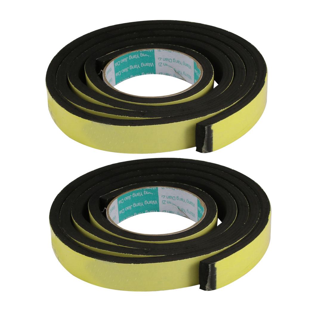 2pcs 25mm Wide 8mm Thick Single Sided Shockproof EVA Sponge Tape Black 2M Long