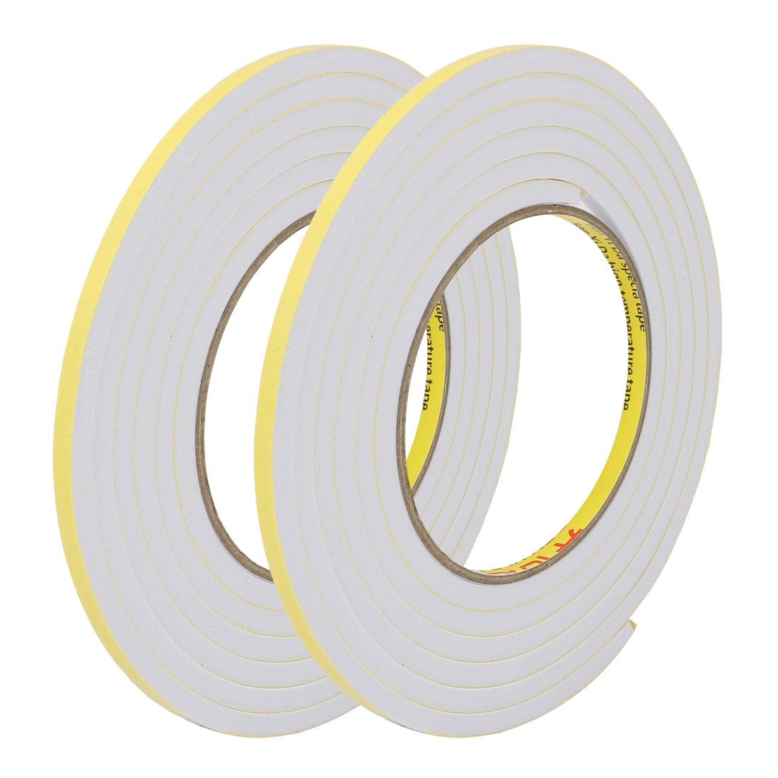 2pcs 5mm Wide 5mm Thick Single Sided Shockproof EVA Sponge Tape White 2M Long