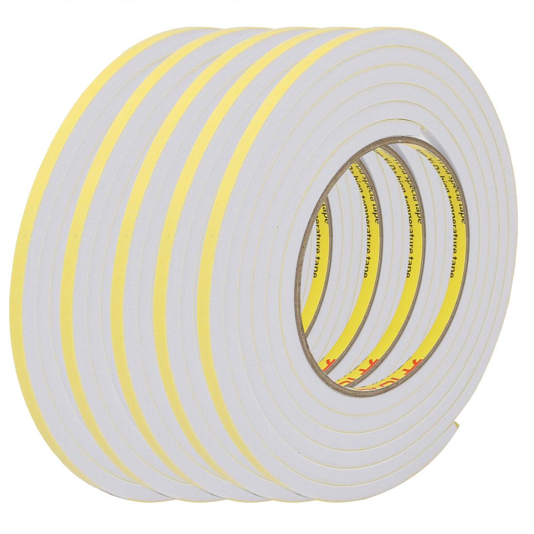 5pcs 5mm Wide 5mm Thick Single Sided Shockproof EVA Sponge Tape White 2M Long