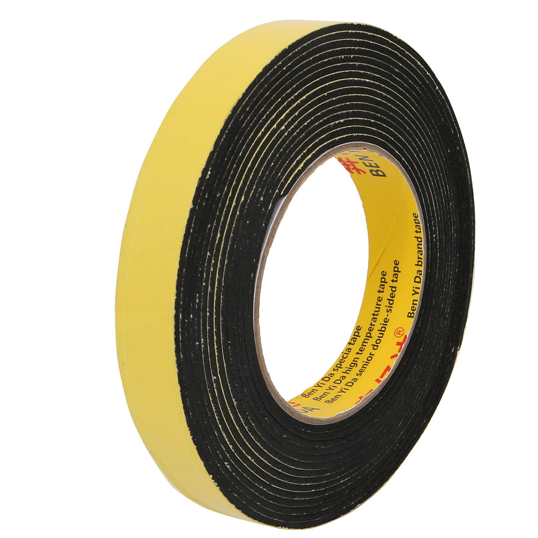20mm Width 2mm Thickness Double-Side Sealed Sponge Tape Red 5M Length Yellow