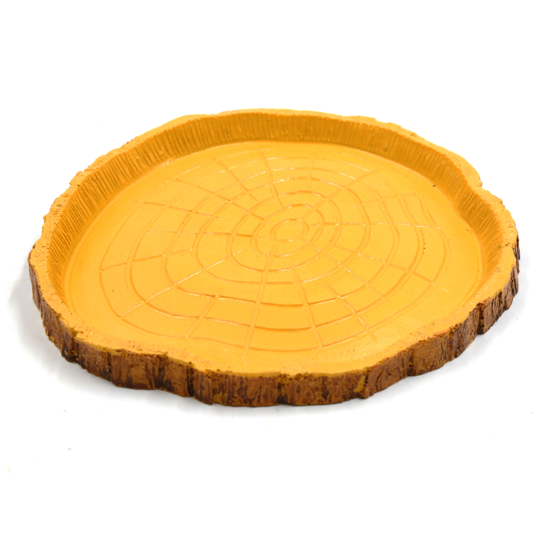 Yellow Brown Resin Feeding Bowl Water Food Holder Aquarium for Small Reptiles