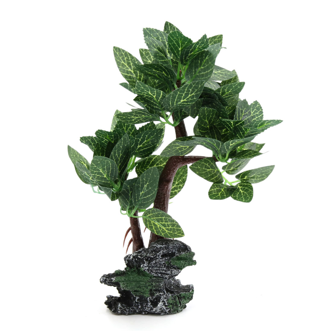 Aquarium Betta Fish Tank Aquascape Decorative Lifelike Tree Green w/ Resin Base
