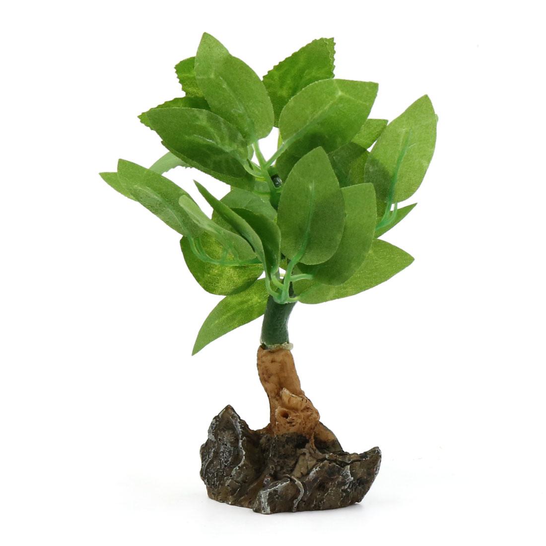 Green Plastic Lifelike Mini Decorative Plant Fsihbowl Aqua Landscape Home Decor