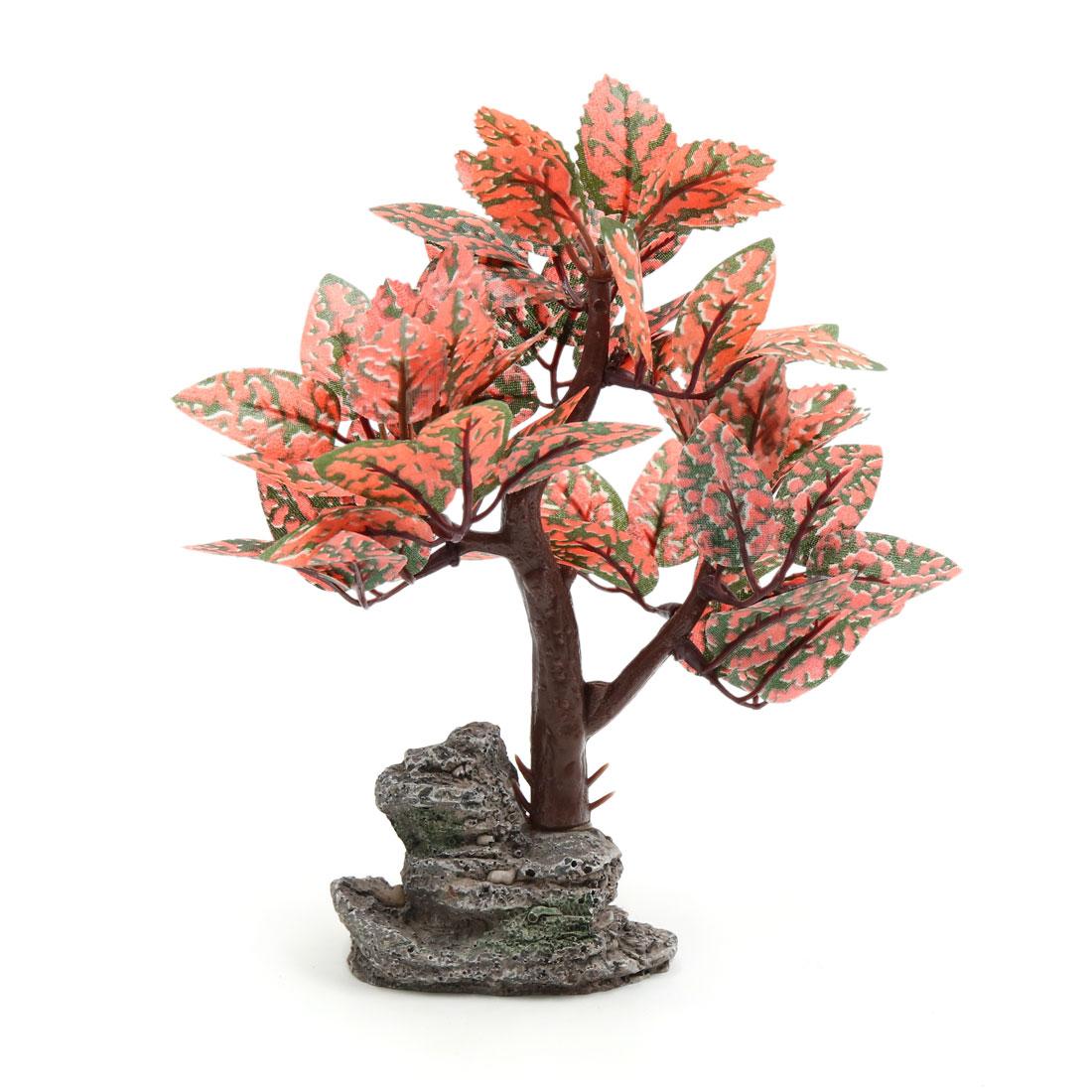Orange Plastic Trees Plant Ornament for Aquarium Fish Tank Landscape Decoration