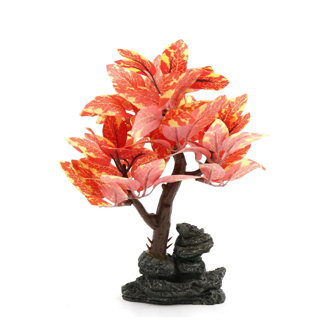 Orange Plastic Lifelike Tree Aquarium Fish Tank Home Decorative Plants