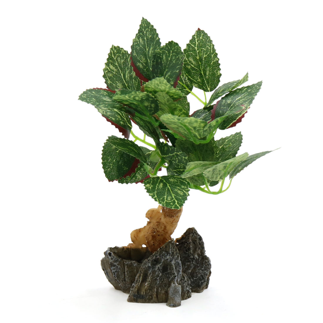 Aquarium Fish Tank Decorative Lifelike Tree Aquascape Ornament w/ Resin Base