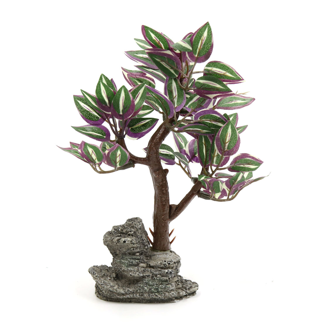 Home Plastic Lifelike Tree Aquarium Fishbowl Waterscape Decor Ornament w/ Stand
