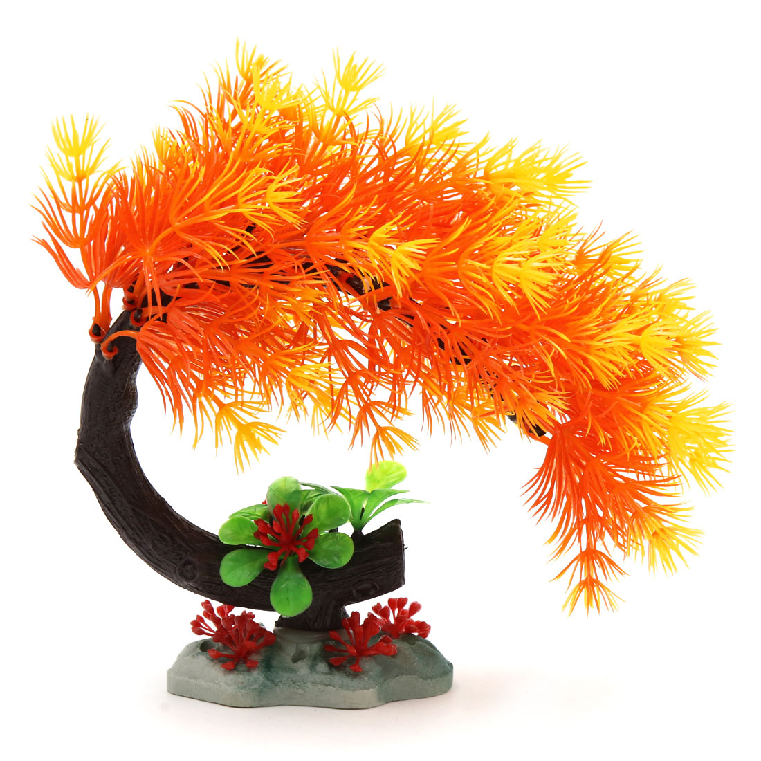 Orange Plastic Needle Leaves Tree Aquarium Fish Betta Tank Landscape Ornament