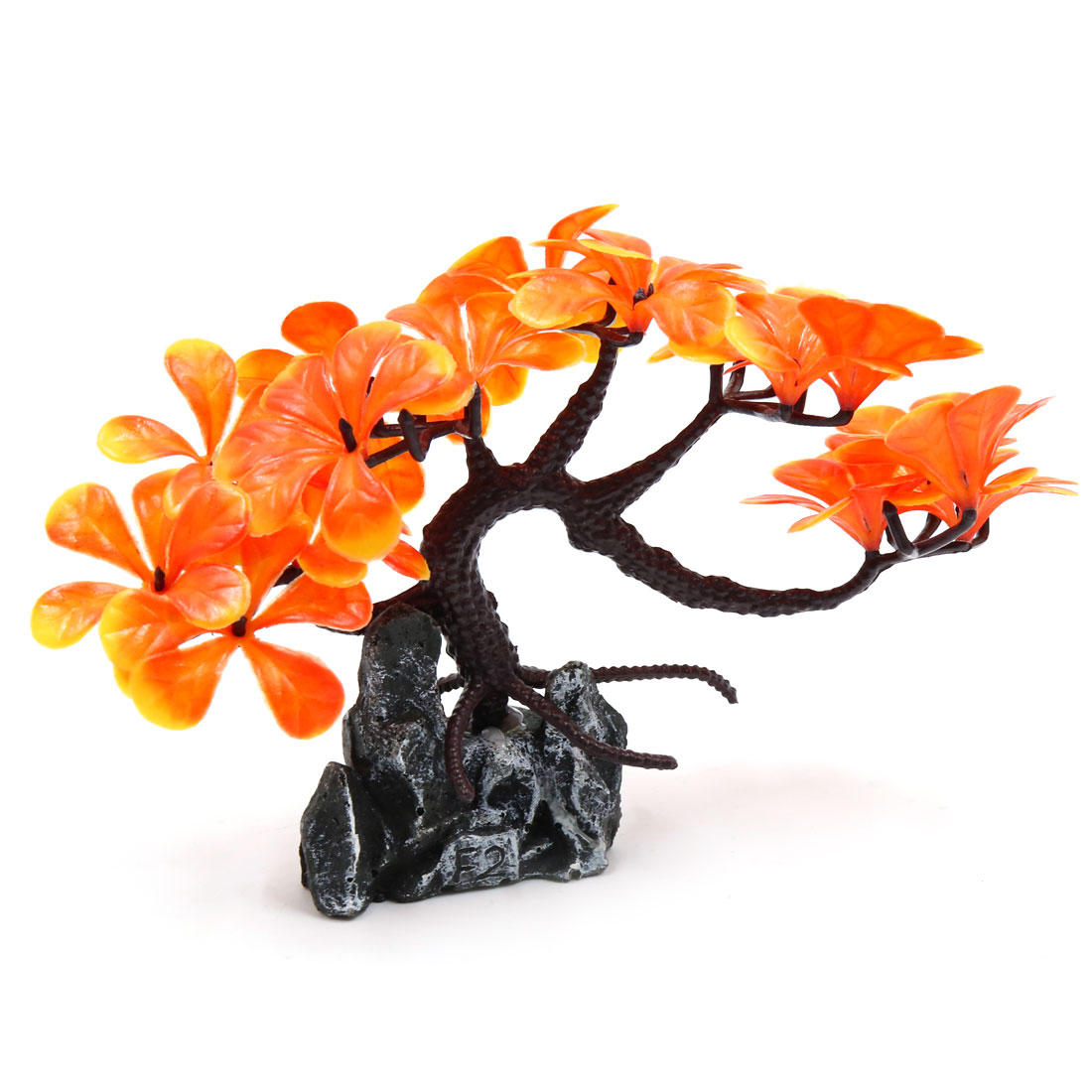 Plastic Tree rium Fish Tank Decorative Plant Landscape Ornament Orange