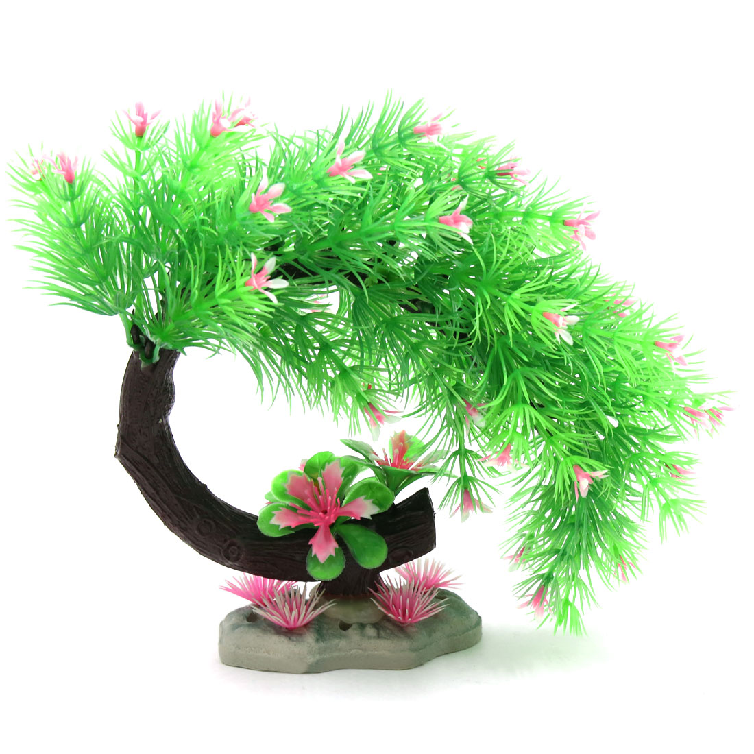Green Pink Needle Leaves Tree Aquarium Fish Betta Tank Landscape Ornament