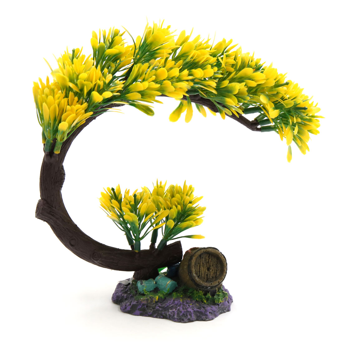 Plastic Tree Decoration Aquarium Fish Tank Landscaping Ornament Yellow Green