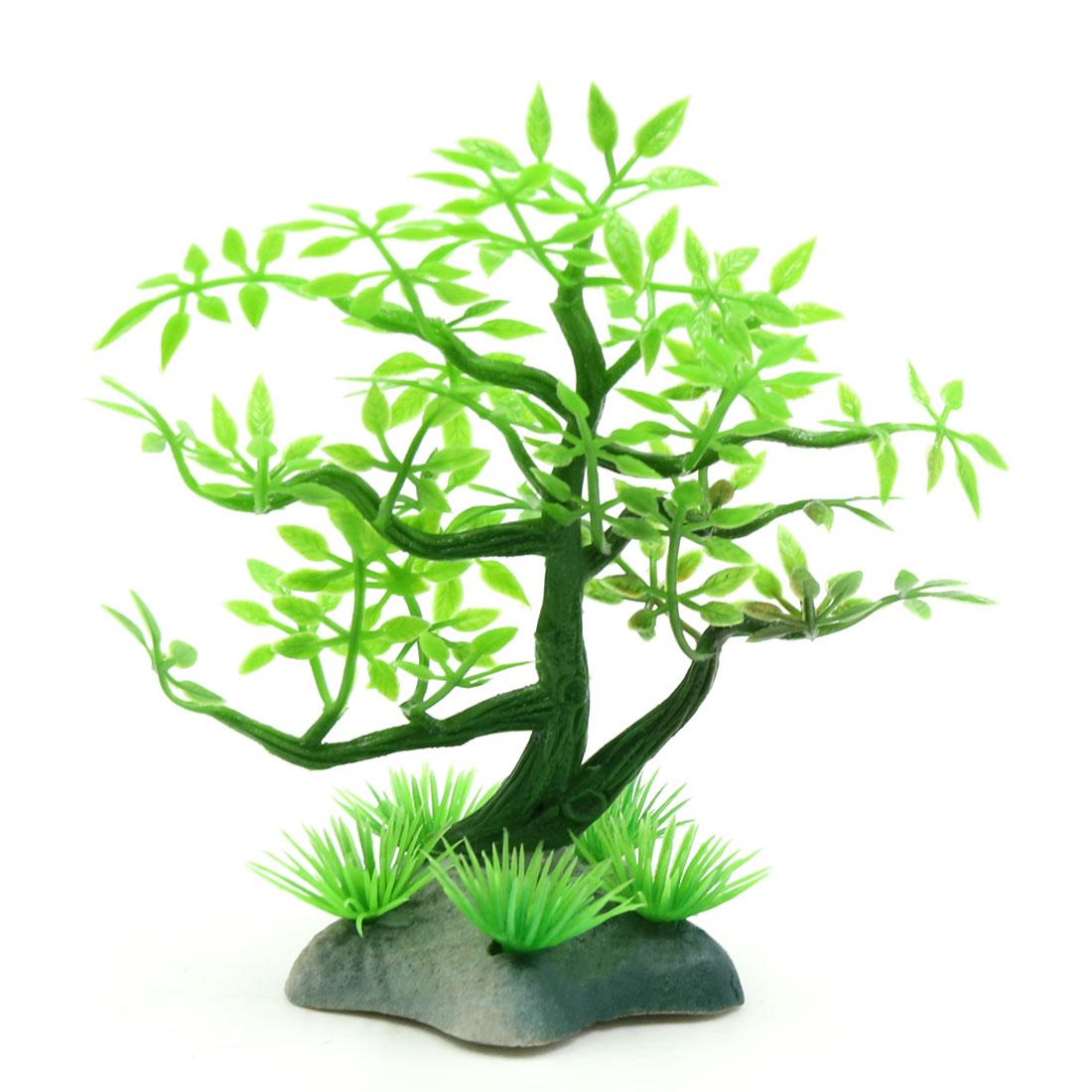 Plastic Mini Lifelike Tree Aquarium Fish Tank Fishbowl Landscape Decor w/ Stand