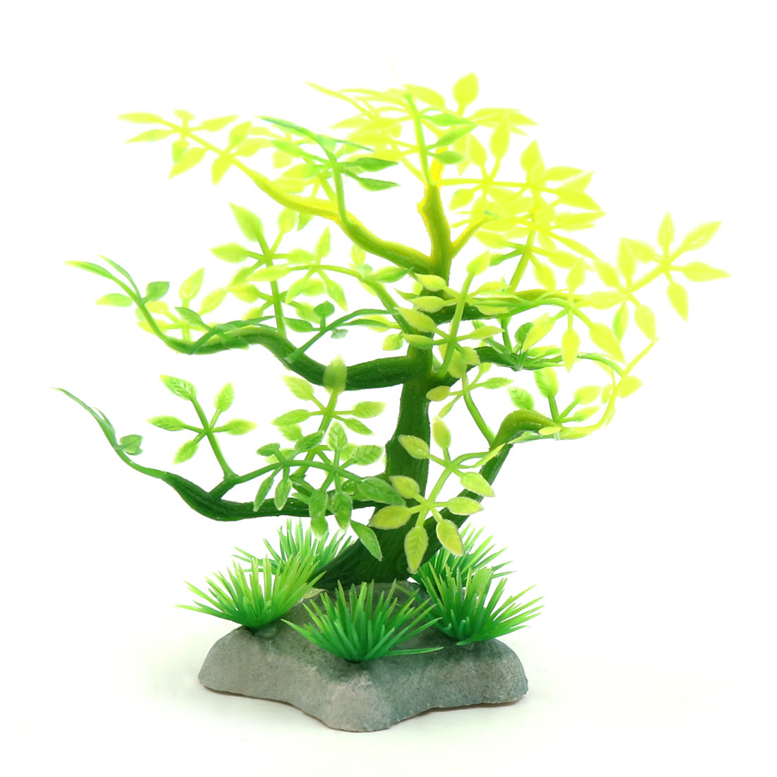 Plastic Mini Lifelike Tree Aquarium Betta Tank Fishbowl Landscape Decor Yellow