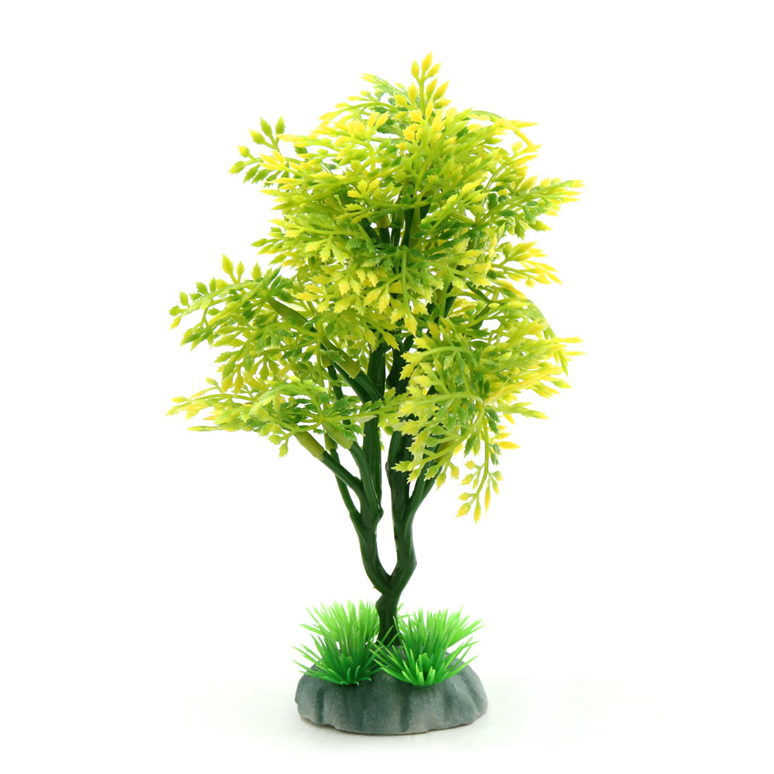 Yellow Green Plastic Mini Plant Aquarium Fishbowl Ornament Home Decor w/ Stand