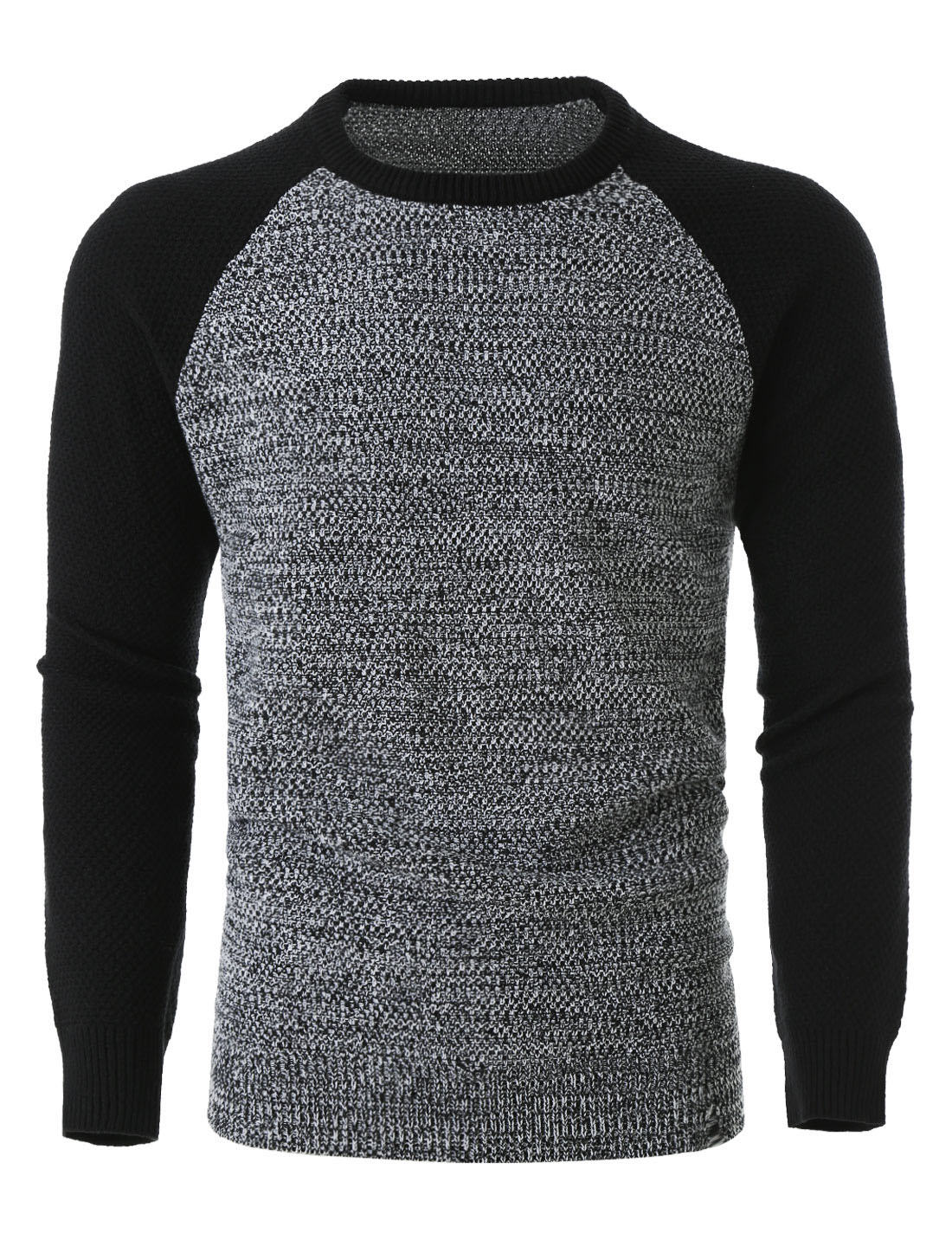 Men Lightweight Color Block Long Sleeve Crewneck Pullover Knit Sweater Grey L