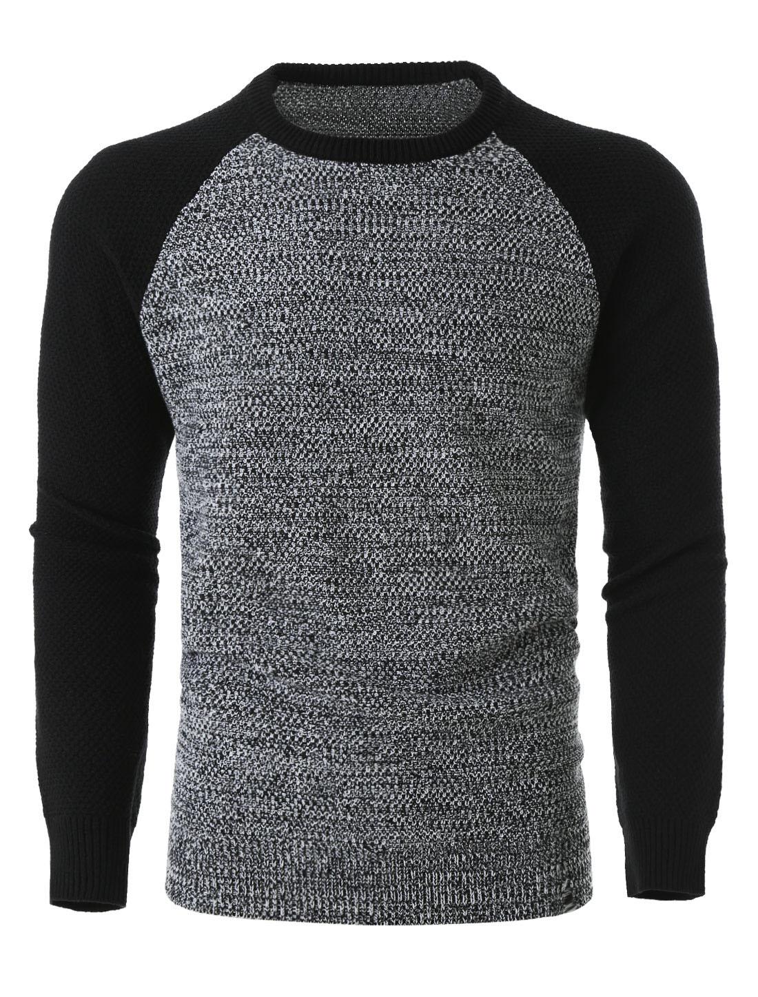 Men Lightweight Color Block Long Sleeve Crewneck Pullover Knit Sweater Grey L