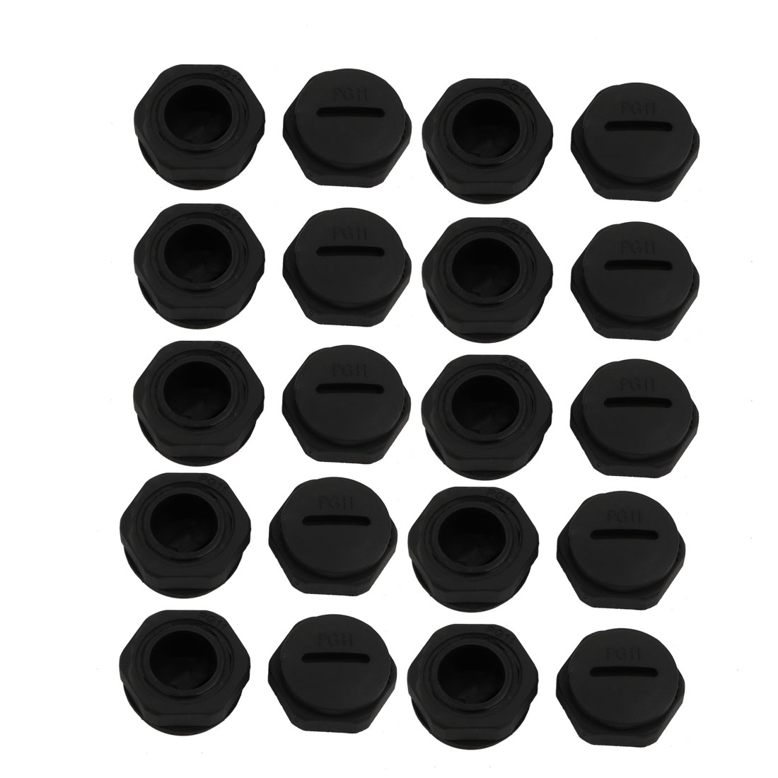 20pcs GLW-PG11B Nylon Thread Cable Gland Cap Round Screw-in Cover Black w Washer