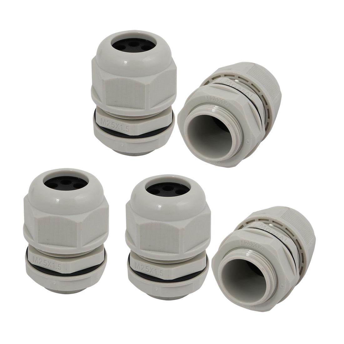 5 Pcs M25 x 1.5mm Nylon 6 Holes Cable Gland Connector Joint Gray MA25-H6-05