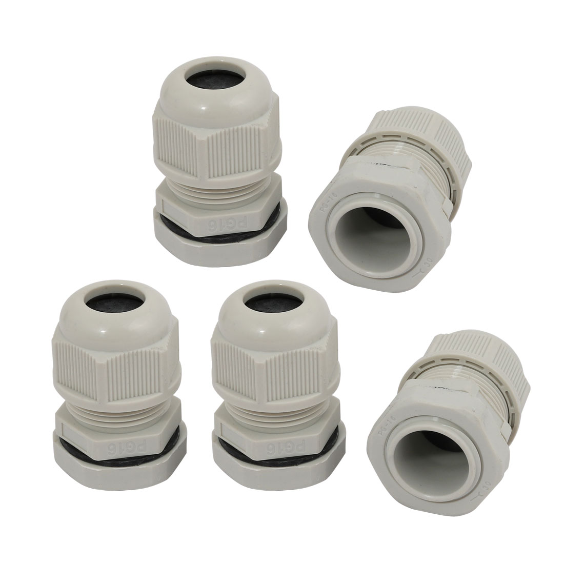 5pcs PG16 Nylon 2 Holes Cable Gland Connector Joint Gray 4mm-6mm Range